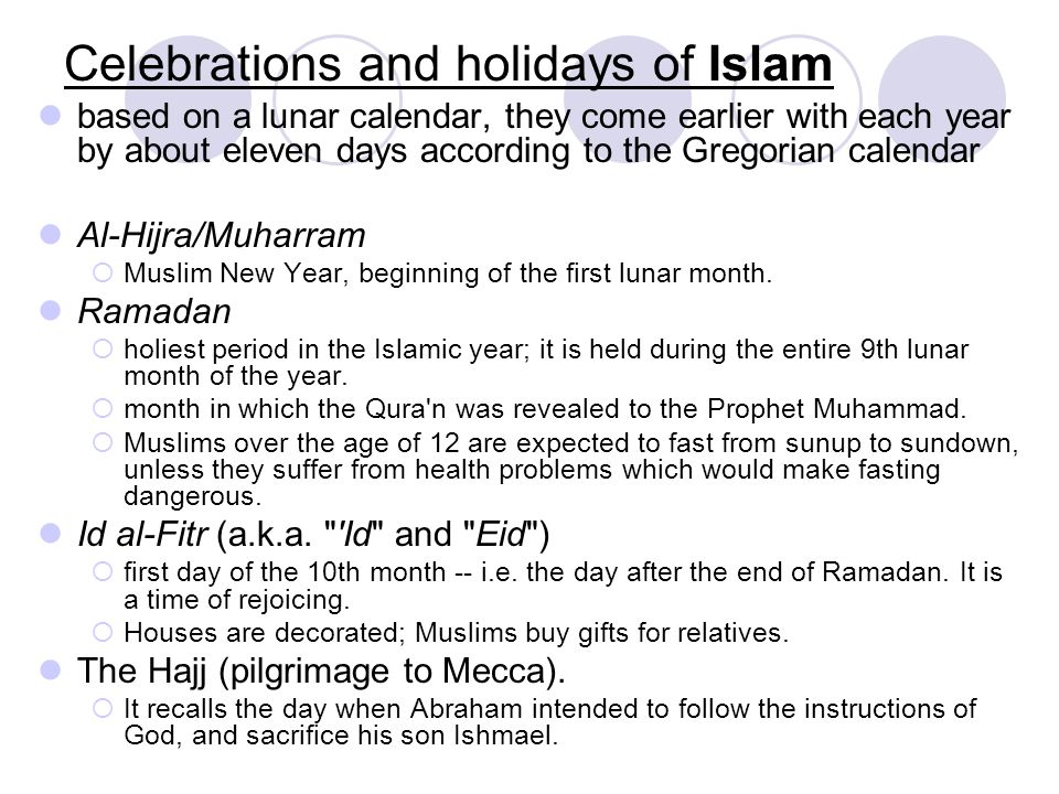 Celebrations and holidays of Islam