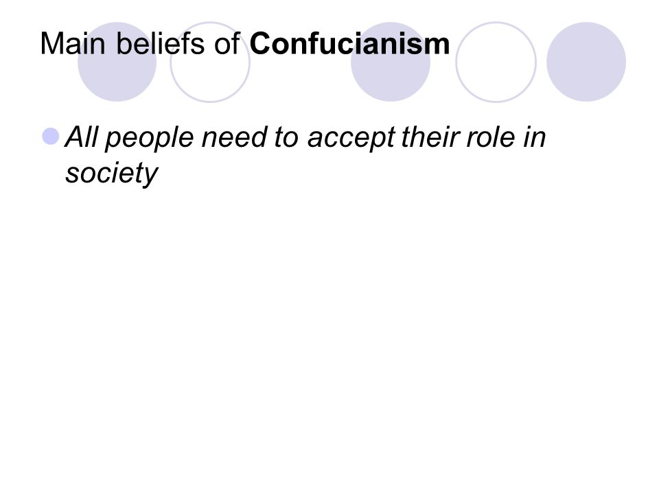 Main beliefs of Confucianism