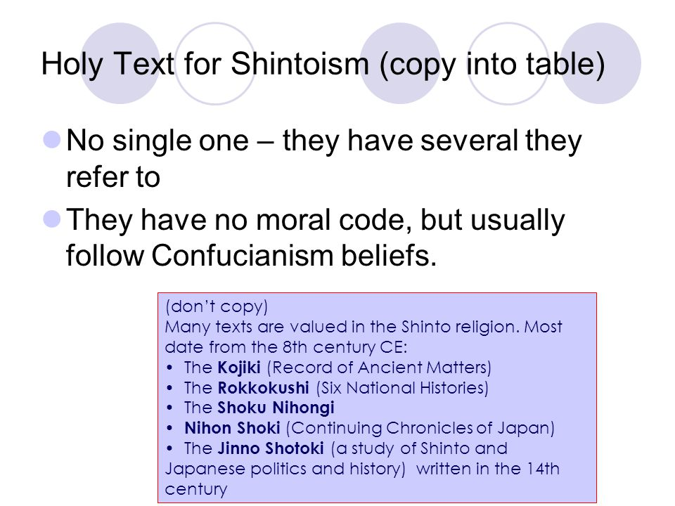 Holy Text for Shintoism (copy into table)