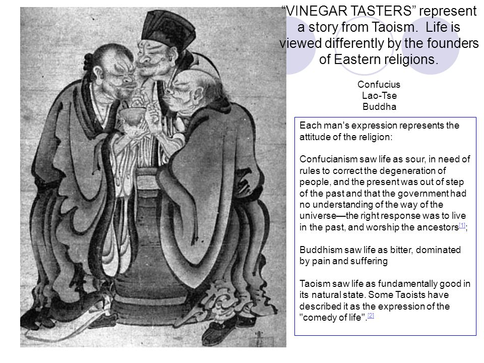VINEGAR TASTERS represent a story from Taoism