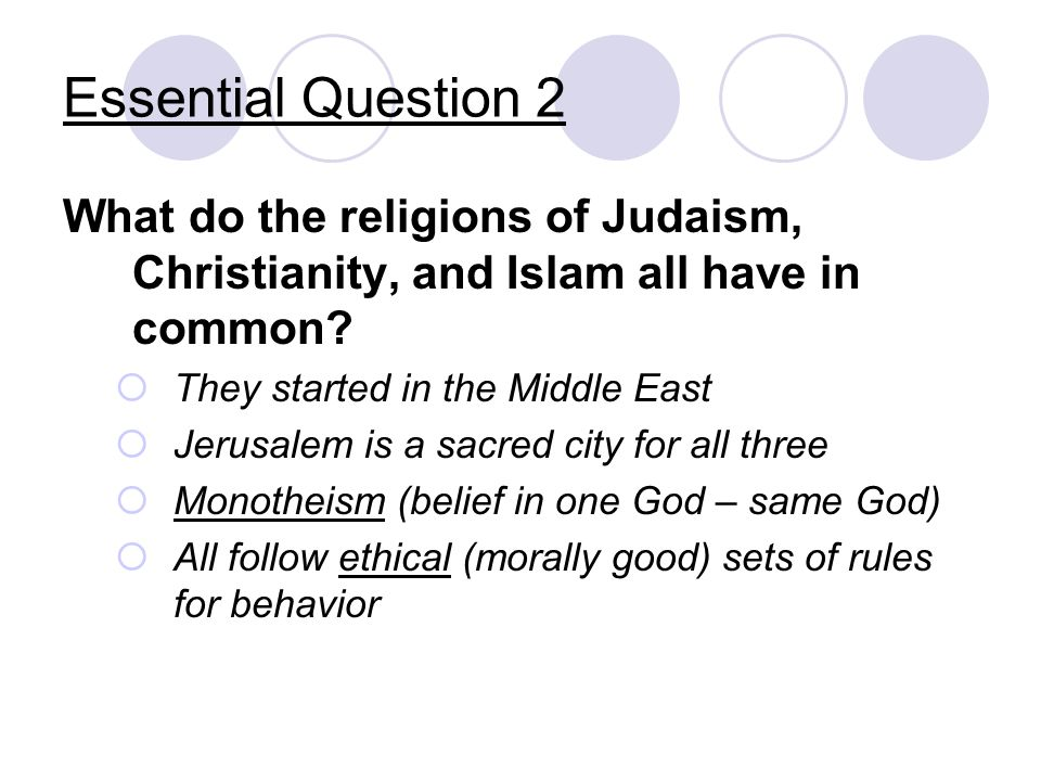 Essential Question 2 What do the religions of Judaism, Christianity, and Islam all have in common They started in the Middle East.