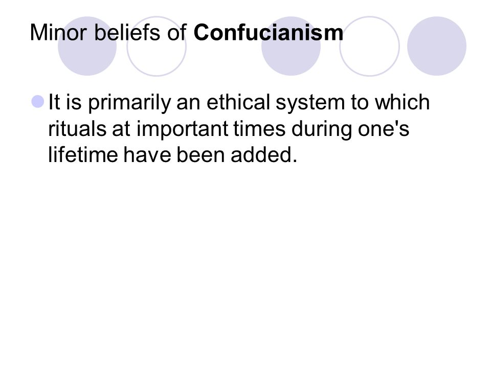 Minor beliefs of Confucianism