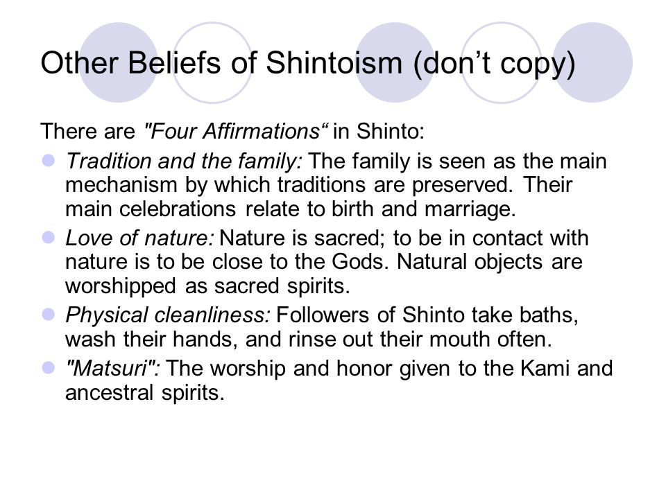Other Beliefs of Shintoism (don't copy)