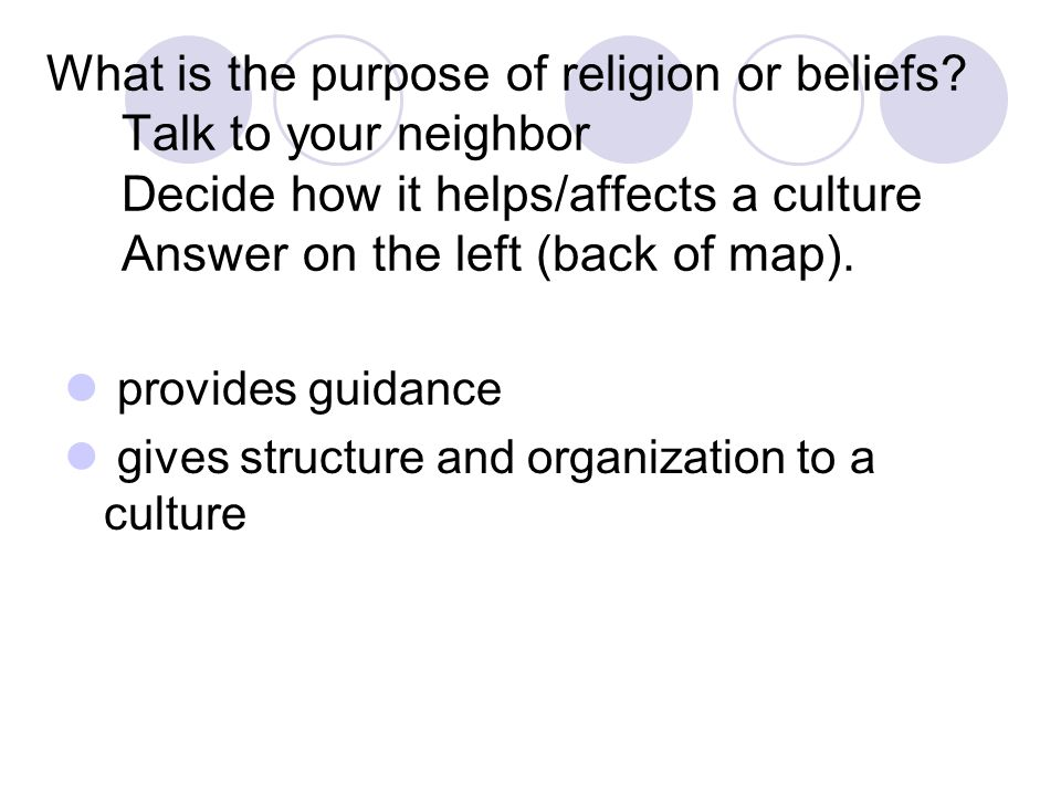 What is the purpose of religion or beliefs