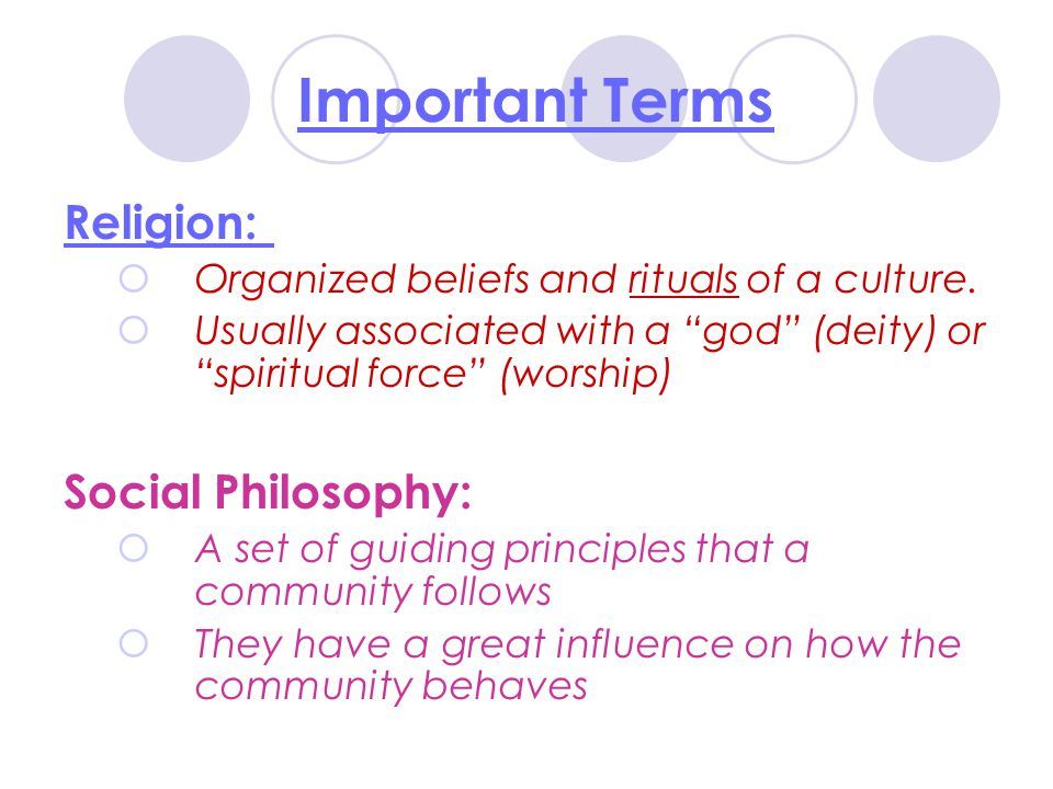 Important Terms Religion: Social Philosophy:
