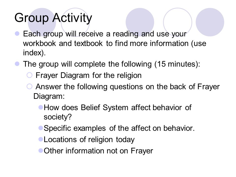 Group Activity Each group will receive a reading and use your workbook and textbook to find more information (use index).