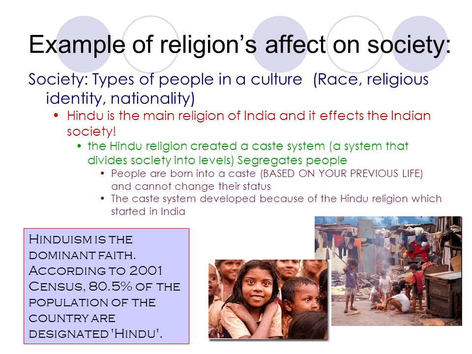 Example of religion's affect on society: