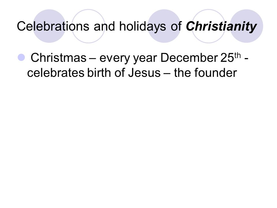Celebrations and holidays of Christianity