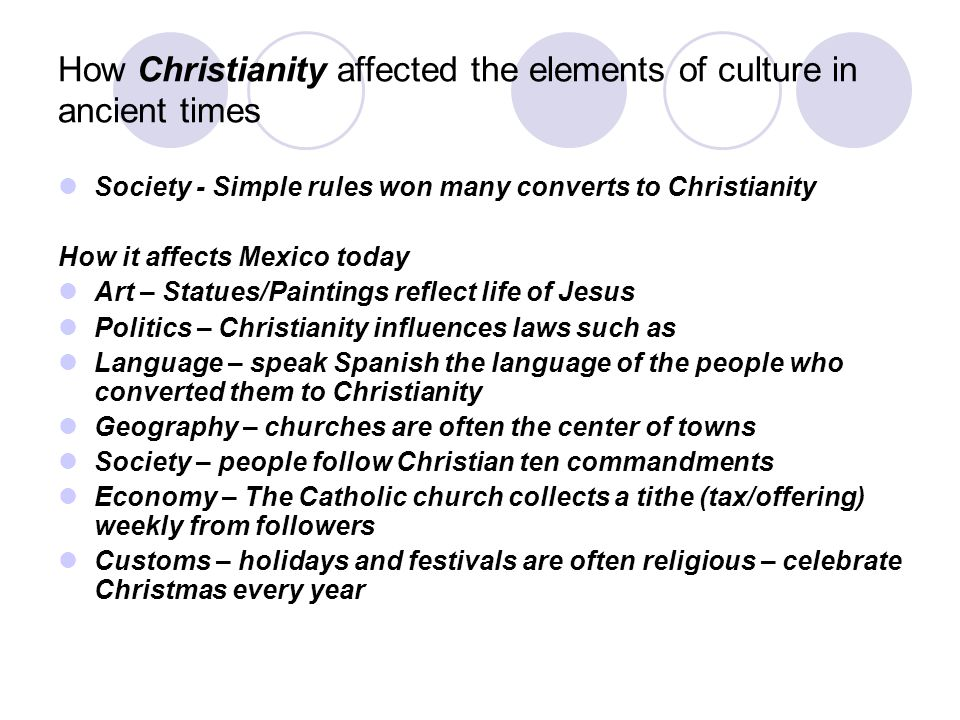 How Christianity affected the elements of culture in ancient times