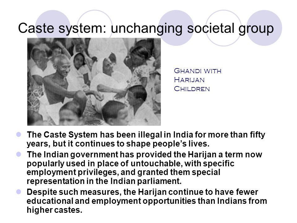 Caste system: unchanging societal group
