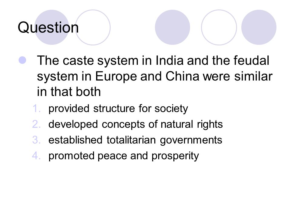 Question The caste system in India and the feudal system in Europe and China were similar in that both.