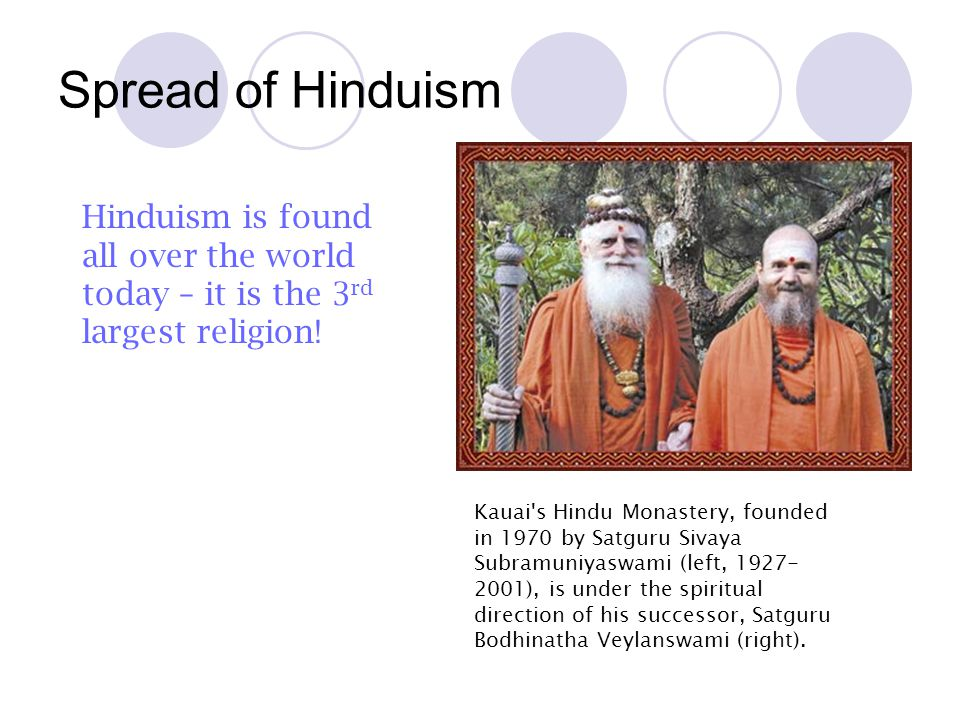 Spread of Hinduism Hinduism is found all over the world today – it is the 3rd largest religion!