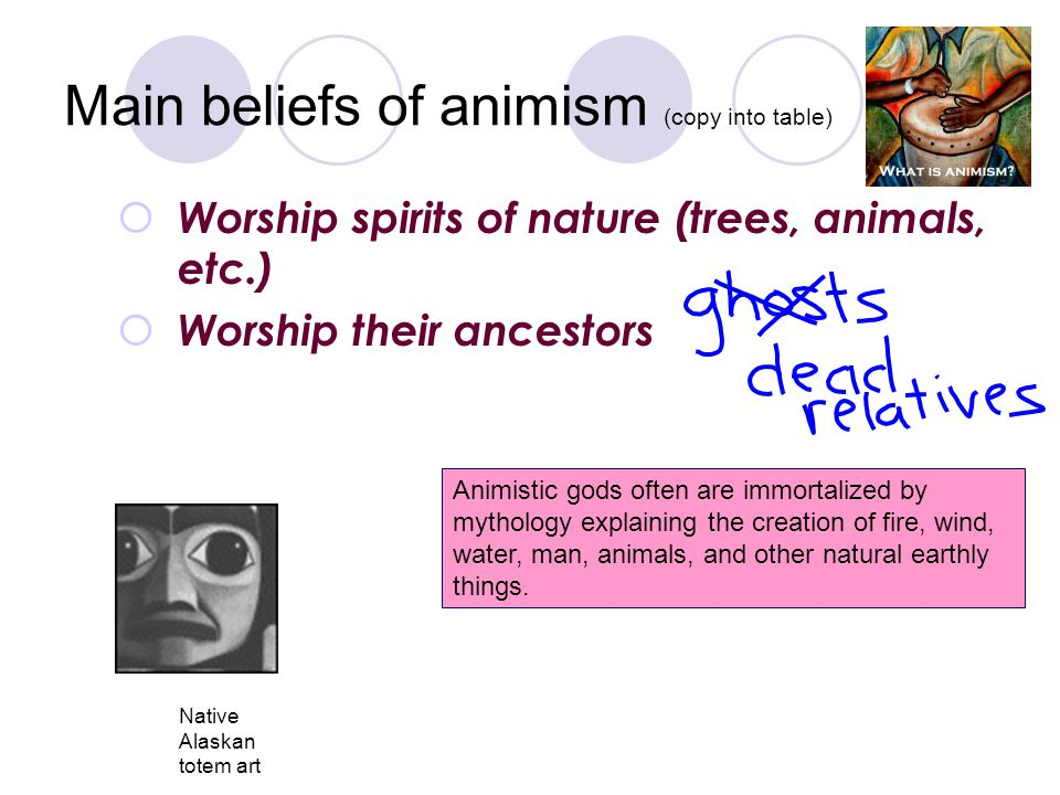 Main beliefs of animism (copy into table)