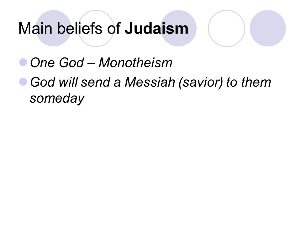 Main beliefs of Judaism