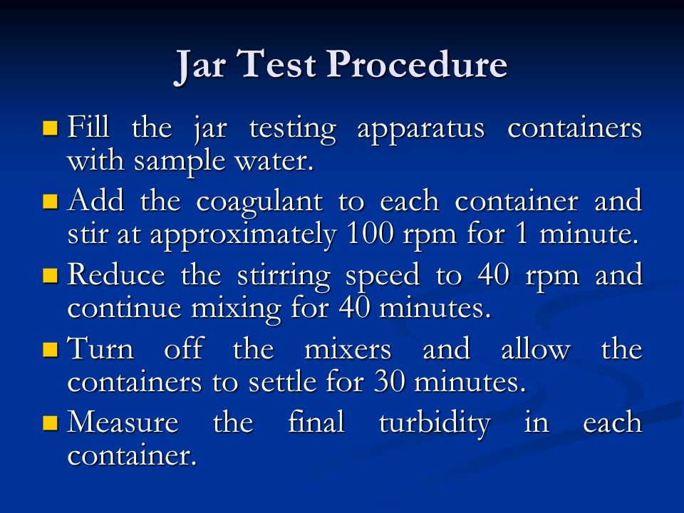 Jar Test Procedure Fill the jar testing apparatus containers with sample water.