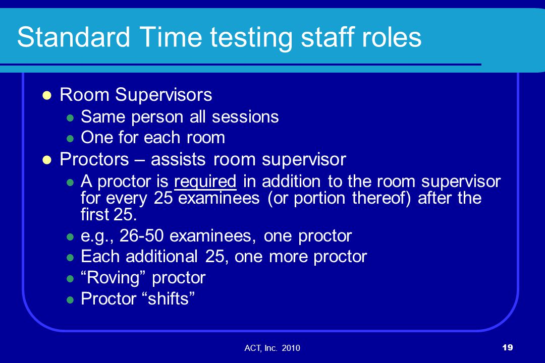 Standard Time testing staff roles