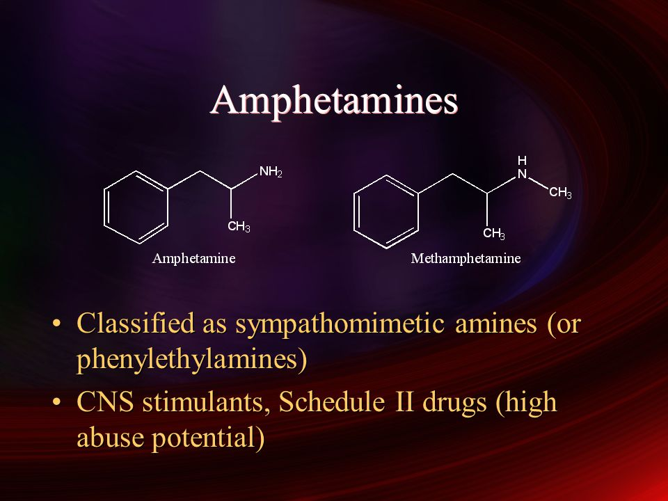 Amphetamines Classified as sympathomimetic amines (or phenylethylamines) CNS stimulants, Schedule II drugs (high abuse potential)