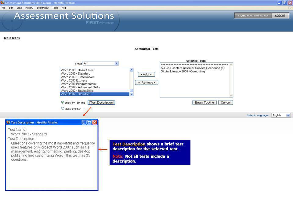 Test Description shows a brief test description for the selected test.