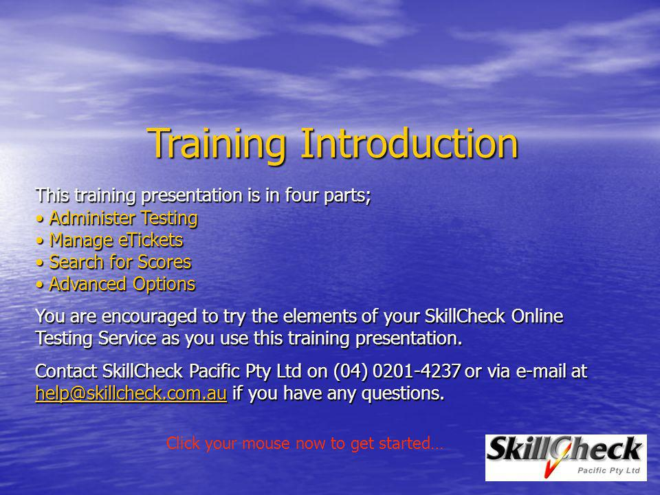 Training Introduction