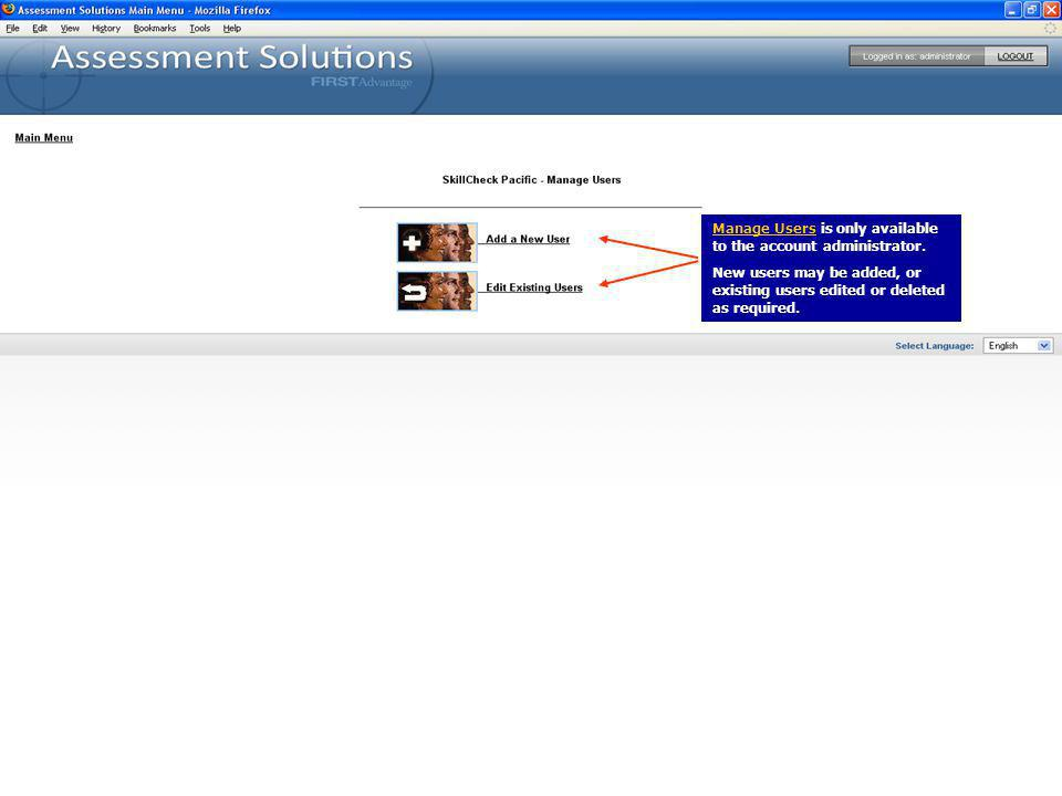 Manage Users is only available to the account administrator.