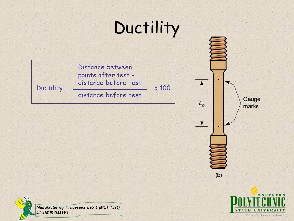 Ductility Distance between points after test – distance before test