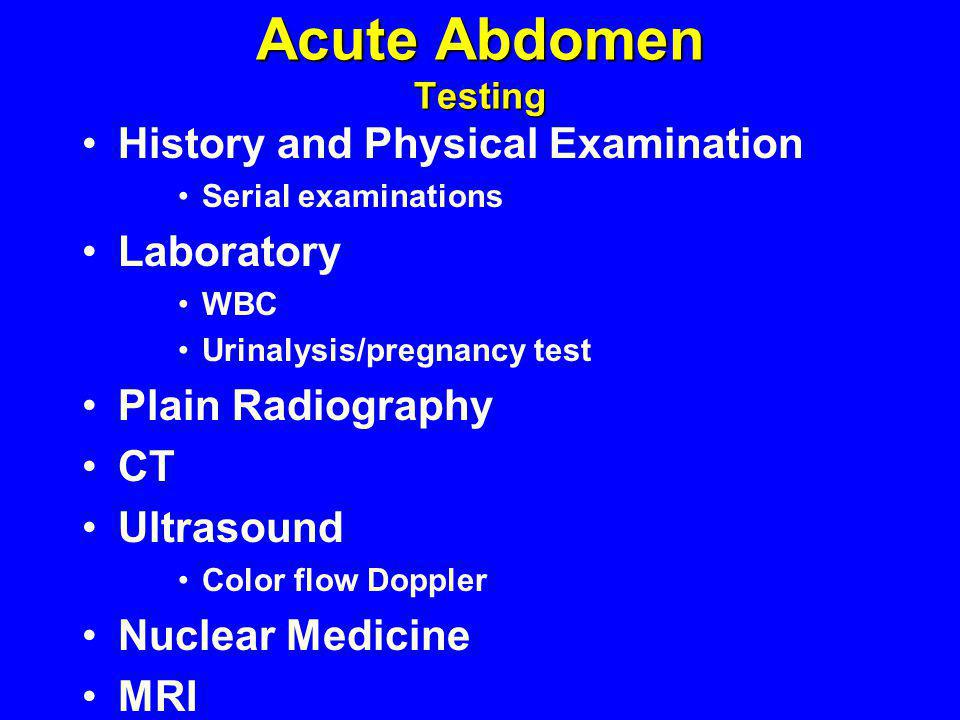 Acute Abdomen Testing History and Physical Examination Laboratory