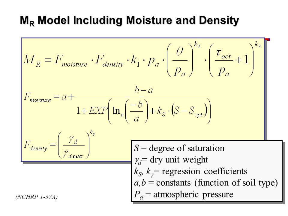 MR Model Including Moisture and Density