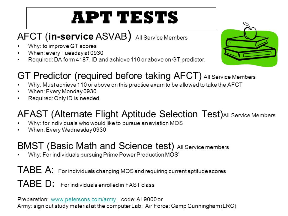 APT TESTS AFCT (in-service ASVAB) All Service Members