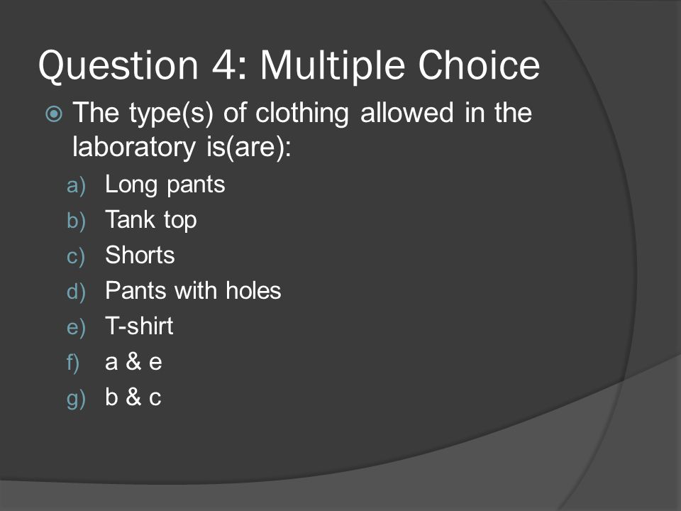 Question 4: Multiple Choice