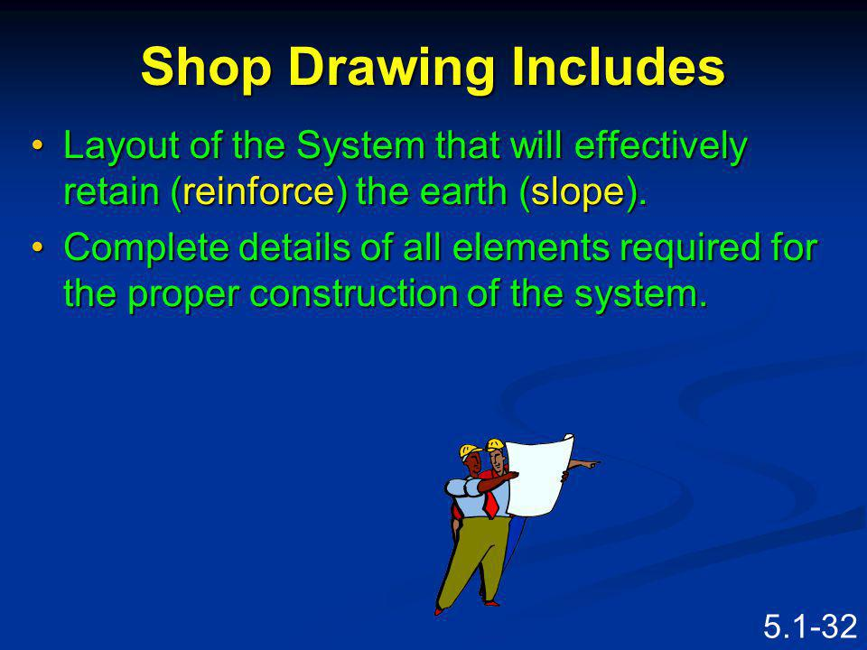 Shop Drawing Includes Layout of the System that will effectively retain (reinforce) the earth (slope).