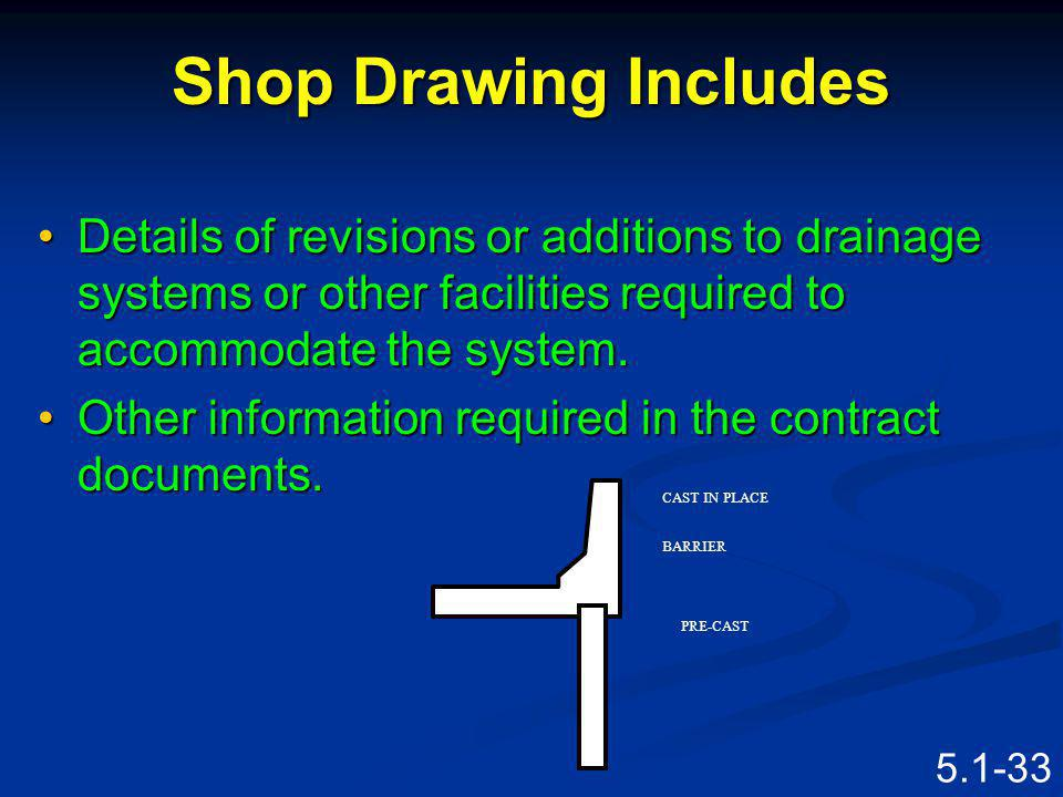 Shop Drawing Includes