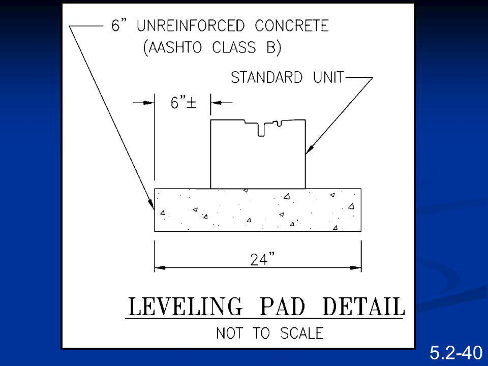 Sometimes specific details for the leveling pad are provided.