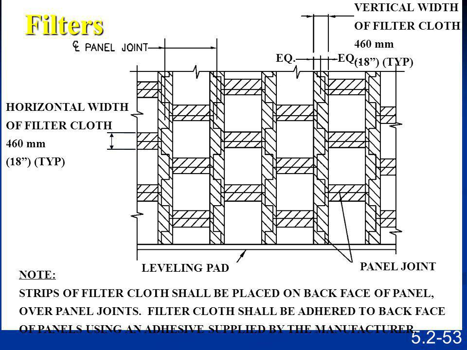 Filters VERTICAL WIDTH EQ. HORIZONTAL WIDTH OF FILTER CLOTH 460 mm