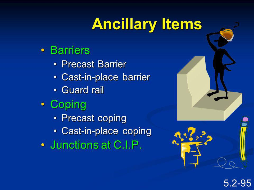 Ancillary Items Barriers Coping Junctions at C.I.P. Precast Barrier