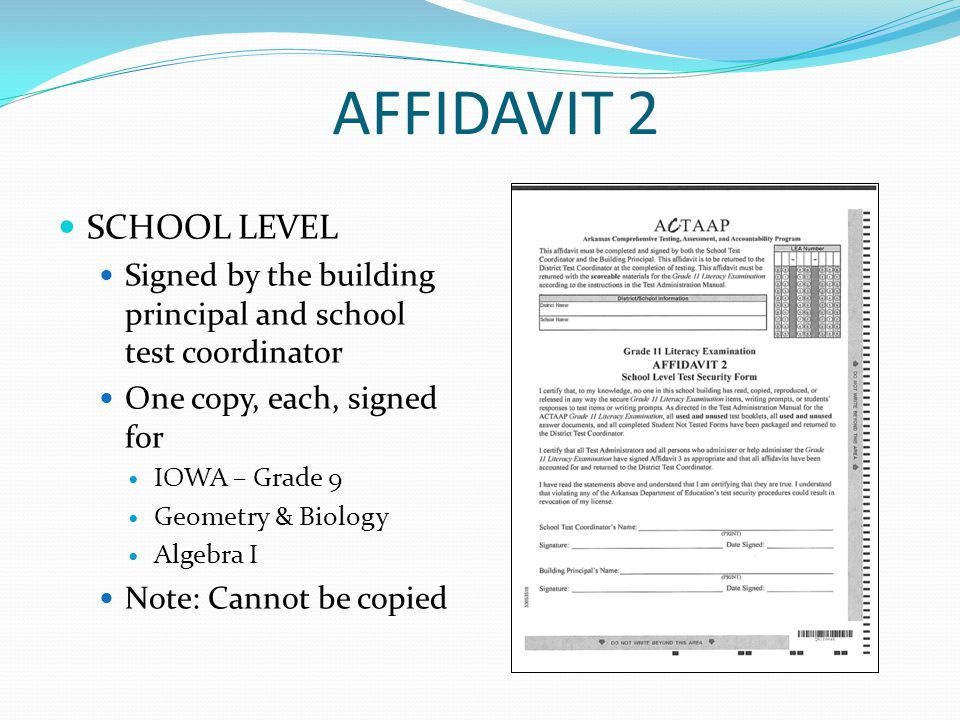 AFFIDAVIT 2 SCHOOL LEVEL