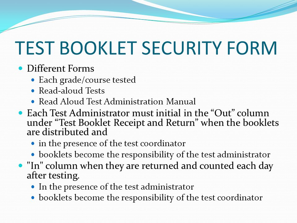 TEST BOOKLET SECURITY FORM