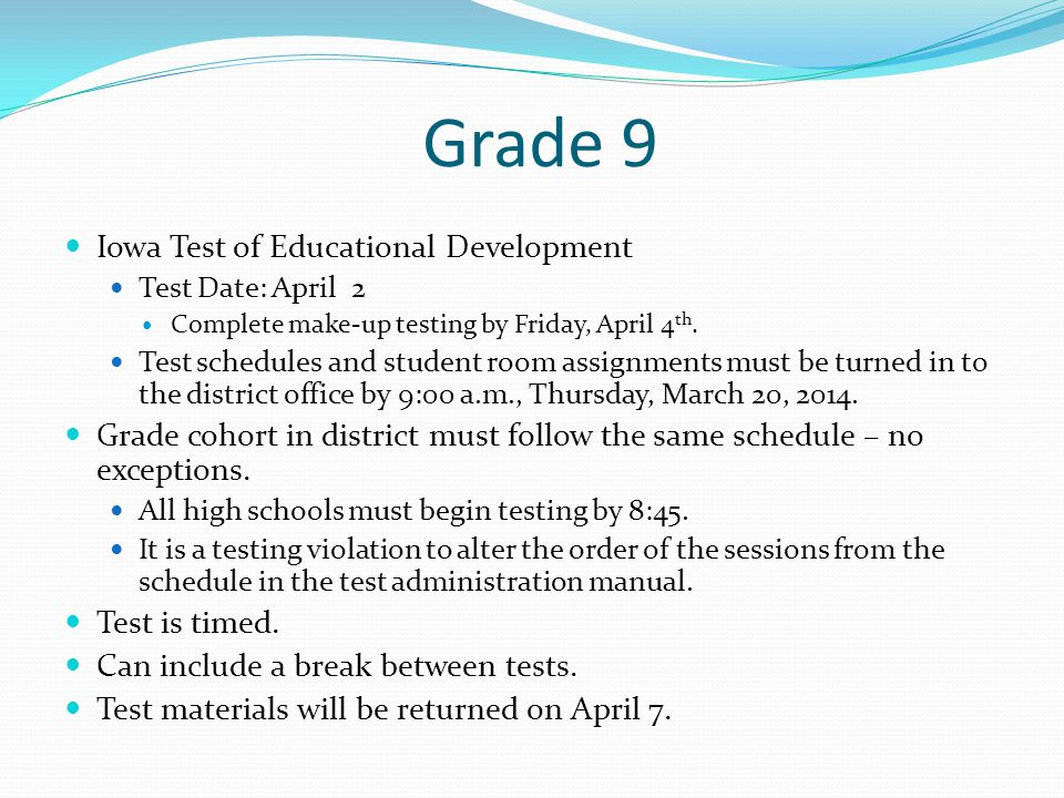 Grade 9 Iowa Test of Educational Development