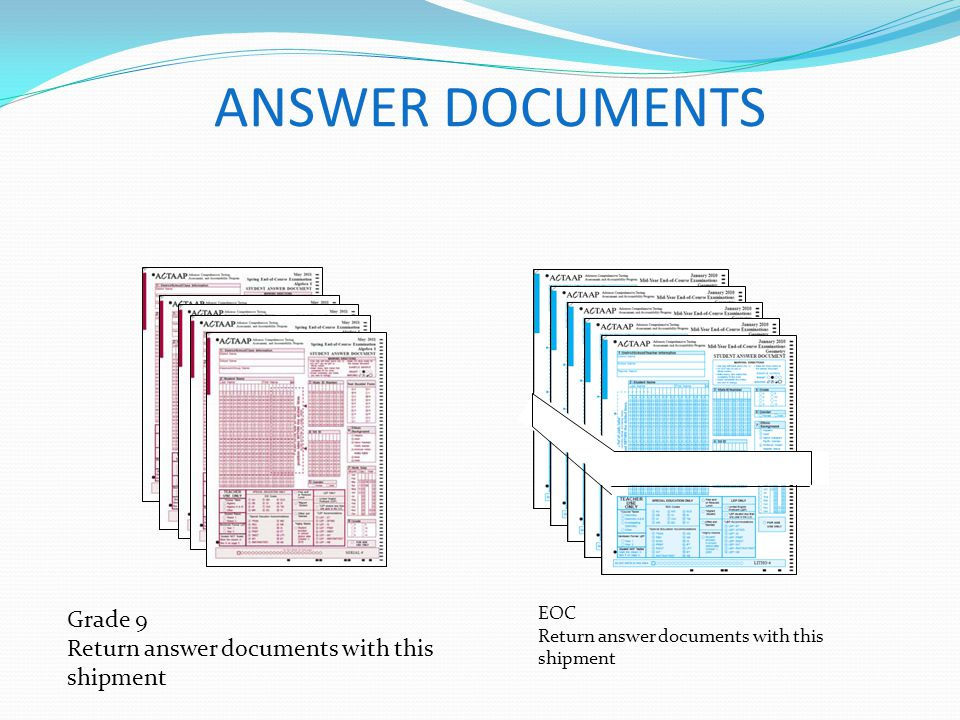 ANSWER DOCUMENTS Grade 9 Return answer documents with this shipment