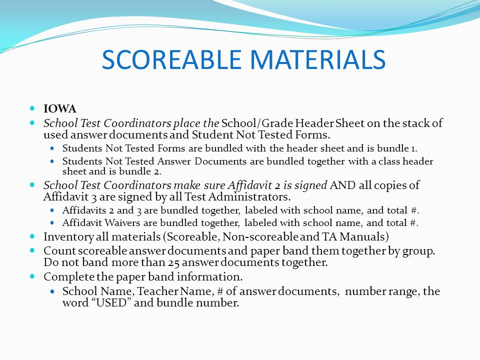 SCOREABLE MATERIALS IOWA