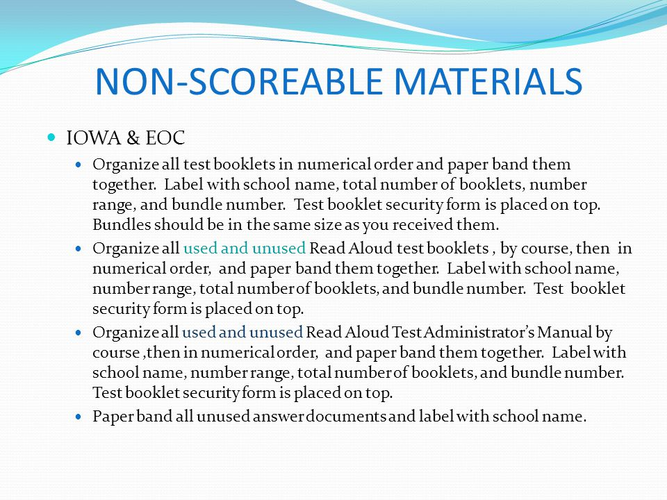 NON-SCOREABLE MATERIALS