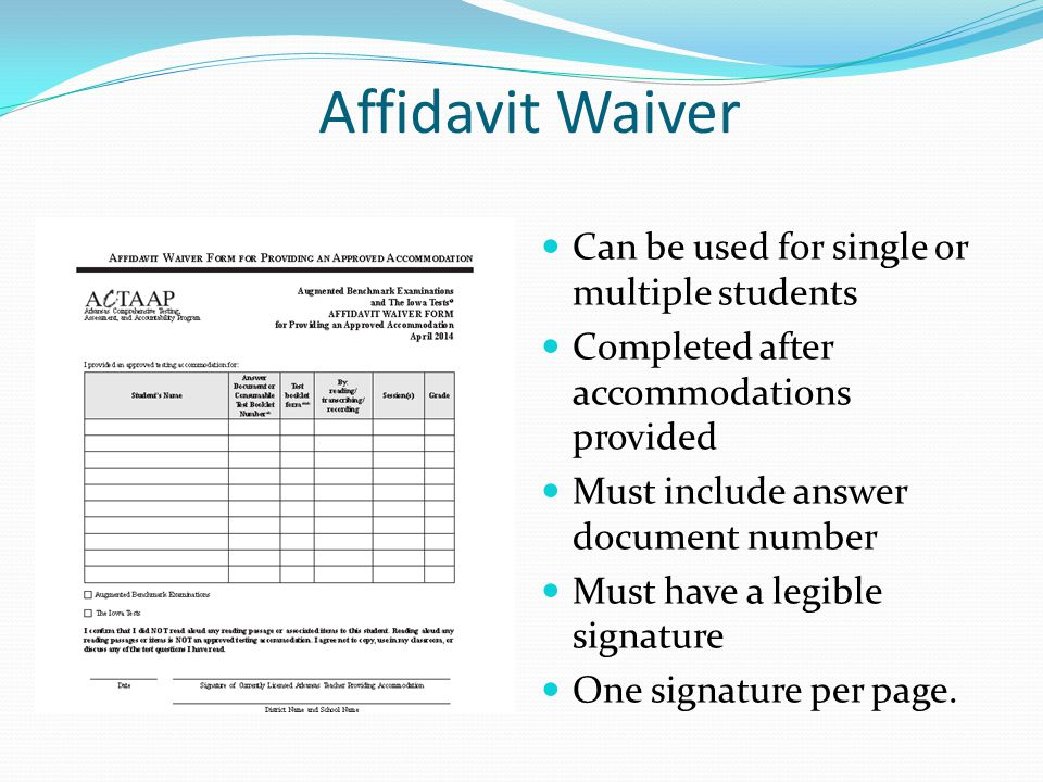 Affidavit Waiver Can be used for single or multiple students
