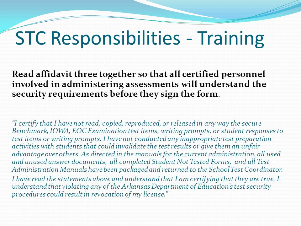 STC Responsibilities - Training