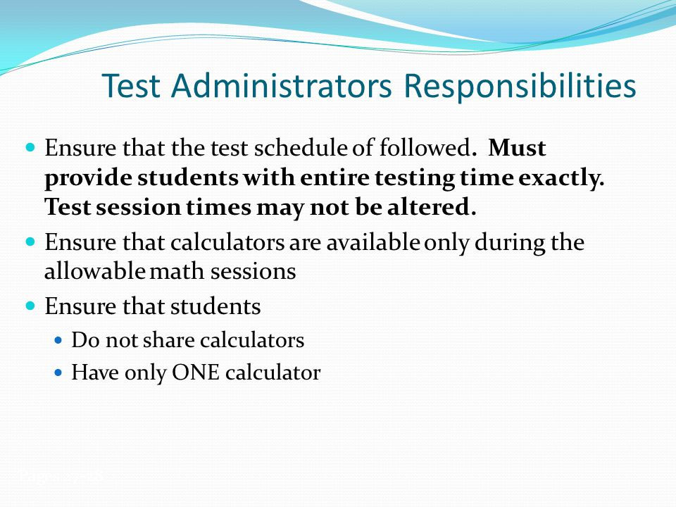 Test Administrators Responsibilities