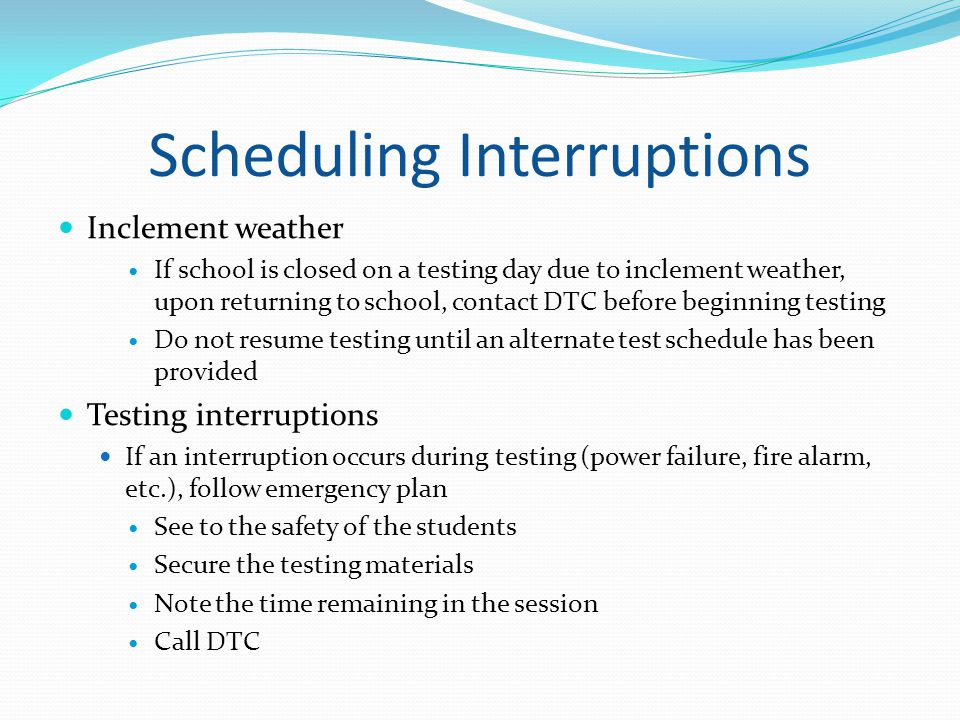 Scheduling Interruptions