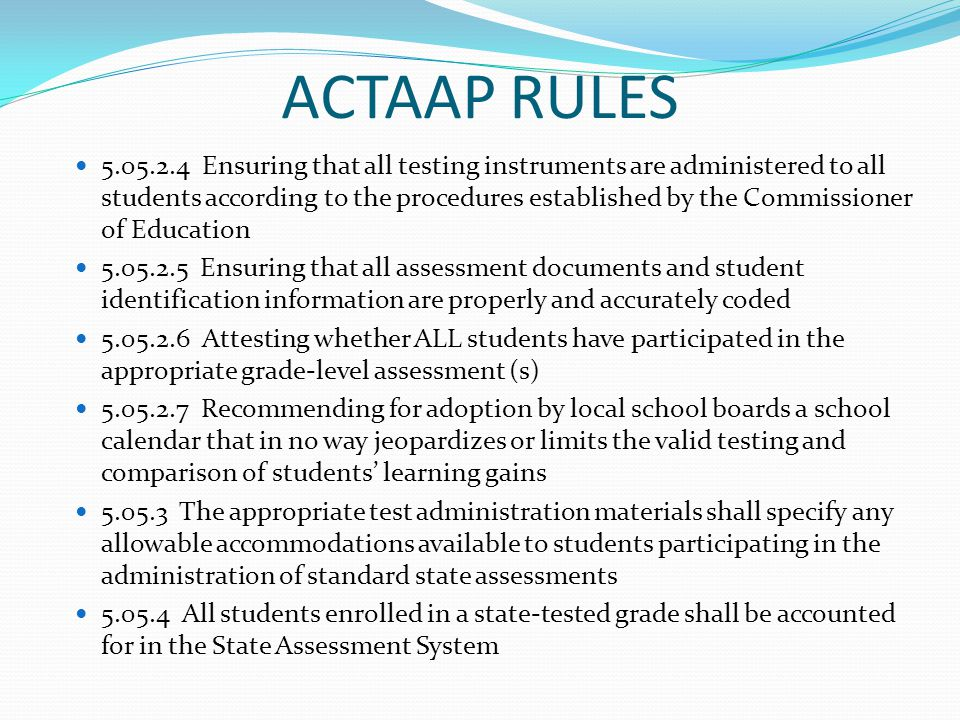ACTAAP RULES