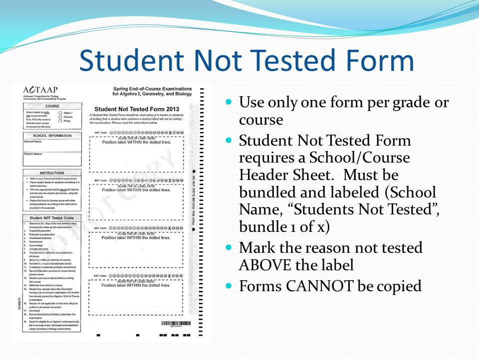 Student Not Tested Form