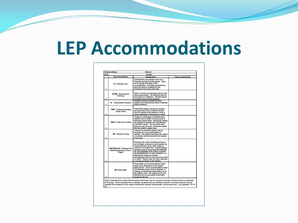 LEP Accommodations