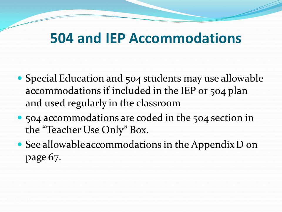 504 and IEP Accommodations