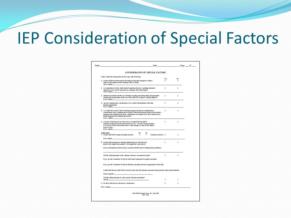 IEP Consideration of Special Factors
