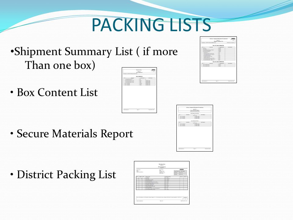 PACKING LISTS Shipment Summary List ( if more Than one box)